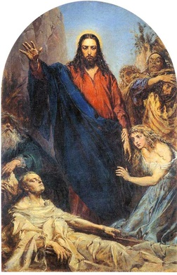 """Jan Matejko, """"Wskrzeszenie Łazarza"""", olej na płótnie, 1867, Kościół Wniebowzięcia NMP, Nowy Wiśnicz"""